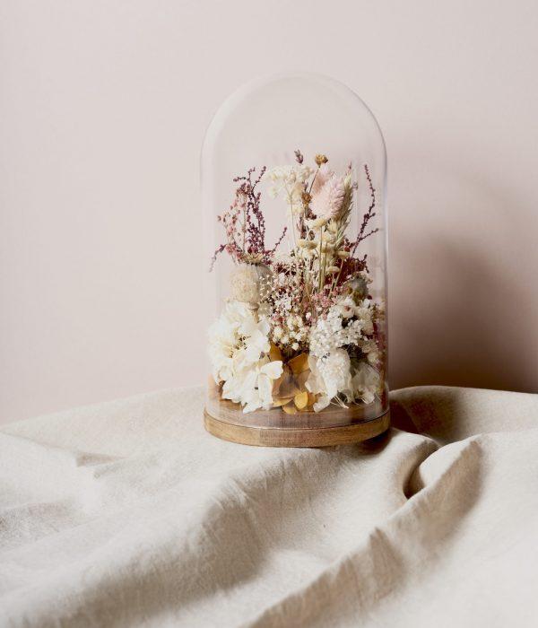 Cúpula eternal de flores preservadas