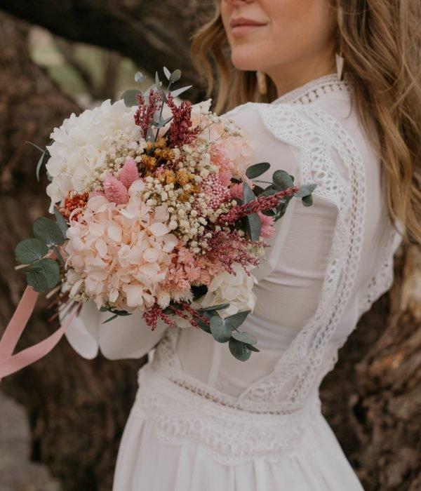 ramos de novia preservado rosa