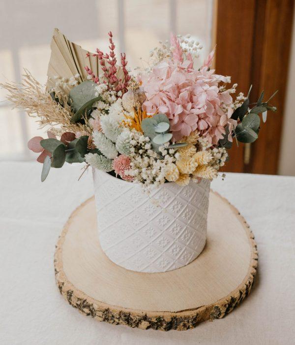 centro de flores pastel